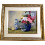 Elaine M Sweeney, Painting, Pink, Red White and Peach Rose Flower Floral Bouquet Still life in Clear Blue Vase Next to Delft Blue Vase, Original Oil on Canvas Board Signed by Well Known Colorado Commissioned Artist