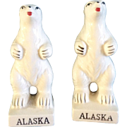 Victoria Ceramics Salt & Pepper Shakers Polar Bear Alaska Standing made in Japan Vintage