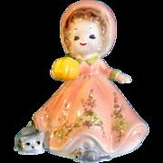 Vintage Josef Originals October Halloween Pumpkin Birthday Girl With Cat and Mouse Figurine