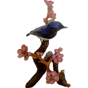 National Audubon Society Arthur Singer Porcelain Japanese Blue Flycatcher Bird Figurine Vintage 1984 Limited Edition Retired