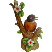 Danbury Mint 'The 12 Songbirds' Collection Red Breasted Robin Bird Porcelain Bisque Figurine Retired