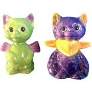 Goebel Salt & Pepper Shakers Cat Purple and Green Rare 1972-1979 Bee Mark