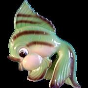 Geo Z Lefton Wall Pocket Fantail Fish Ceramic Green Plaque Japan Bath Decor Figurine Vintage