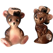 Rare Adorable DeLee Art Bears With Raccoon Hats California Pottery Figurines