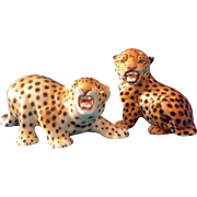 Porcelain Leopard Baby Cat Cub Animal Figurines Original Vintage Highly Detailed Hand Painted