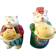 Fitz & Floyd Salt & Pepper Shakers Cat Servers Snobby Maid and Butler Figurines FF Original Vintage Hand Painted