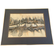 R. Cruz, Watercolor Painting Works on Paper, Signed By Artist, 1980 Winter Country Landscape Picture, Beautiful Original