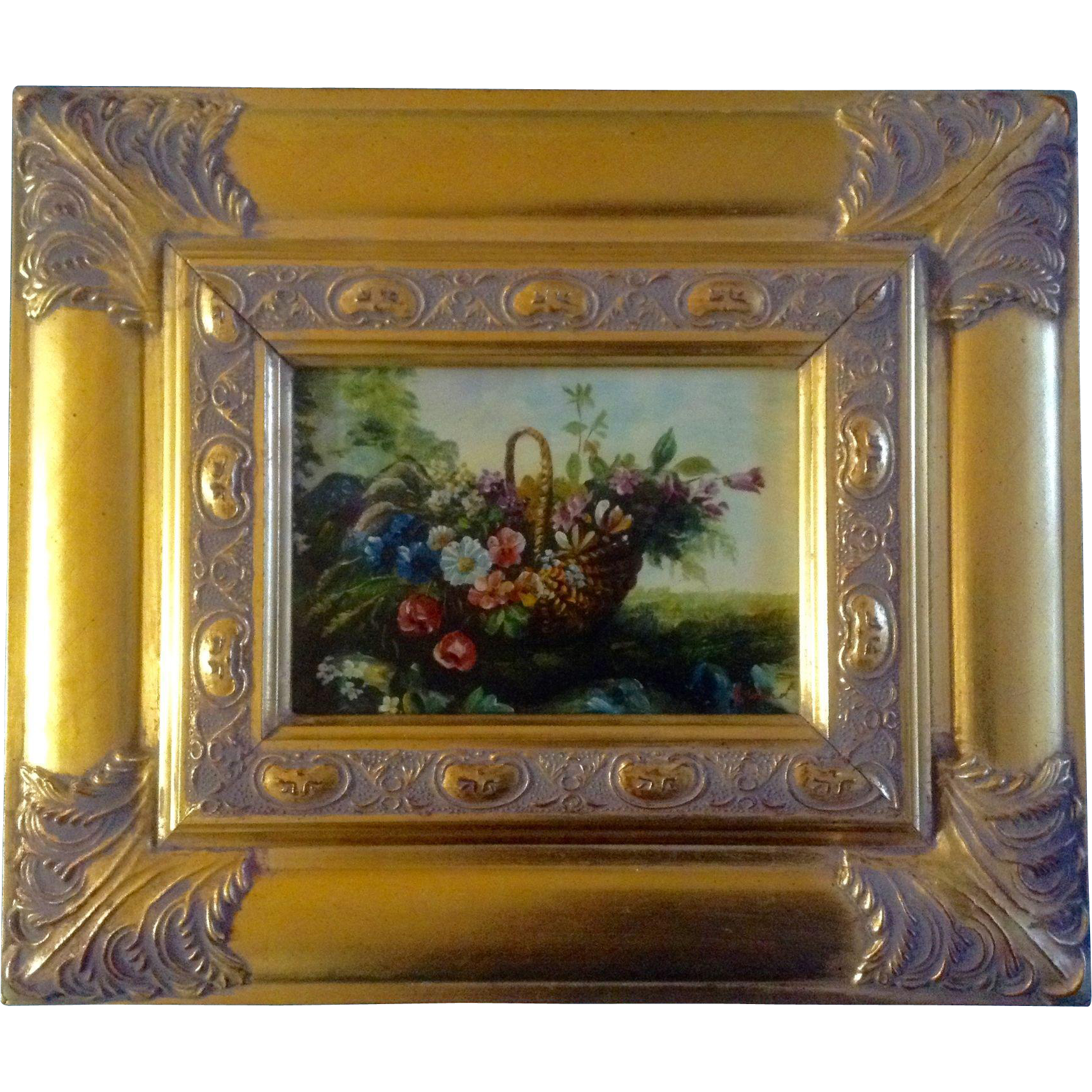 b ward painting wildflowers in a basket bright gold frame signed by artist contemporary oil on board