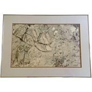Donna Gaylord, Original Pen & Ink, Owls hidden in driftwood, Black and White Pointillism, Works on Paper, Signed by Arizona Artist