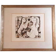 John Haymson (1902-1980), Pan and the Nude Women, Pen & Ink, Watercolor Mixed Media Works on Paper, Signed by Listed Artist 1960's