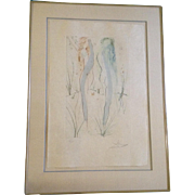 Salvador Dali (1904-1989) Two Women Dancing, Pencil signed and Numbered Etching Print with Gold, Return Return Shulamite, From the Dali Portfolio Book, The Songs of Songs King Solomon""