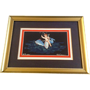 Pompeii Vintage Gouache Watercolor Painting Works on Paper, Winged Cherub Angle Riding Dolphin Fish