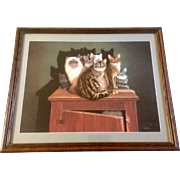 "Braldt Bralds, Cats on a Cabinet Titled, ""Cabinet Meeting"", Signed by artist and numbered, ""Braldt Bralds 1522/2000"" Limited Edition Lithograph."