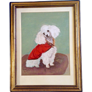 Mabel Lyons, Signed by Artist 1954, Adorable White Poodle Dog Oil Painting on Canvas Board