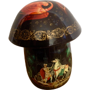 Russian Lacquer Box Firebird and People Rare Mushroom Shaped Highly Detailed Box Signed by Artist Vintage