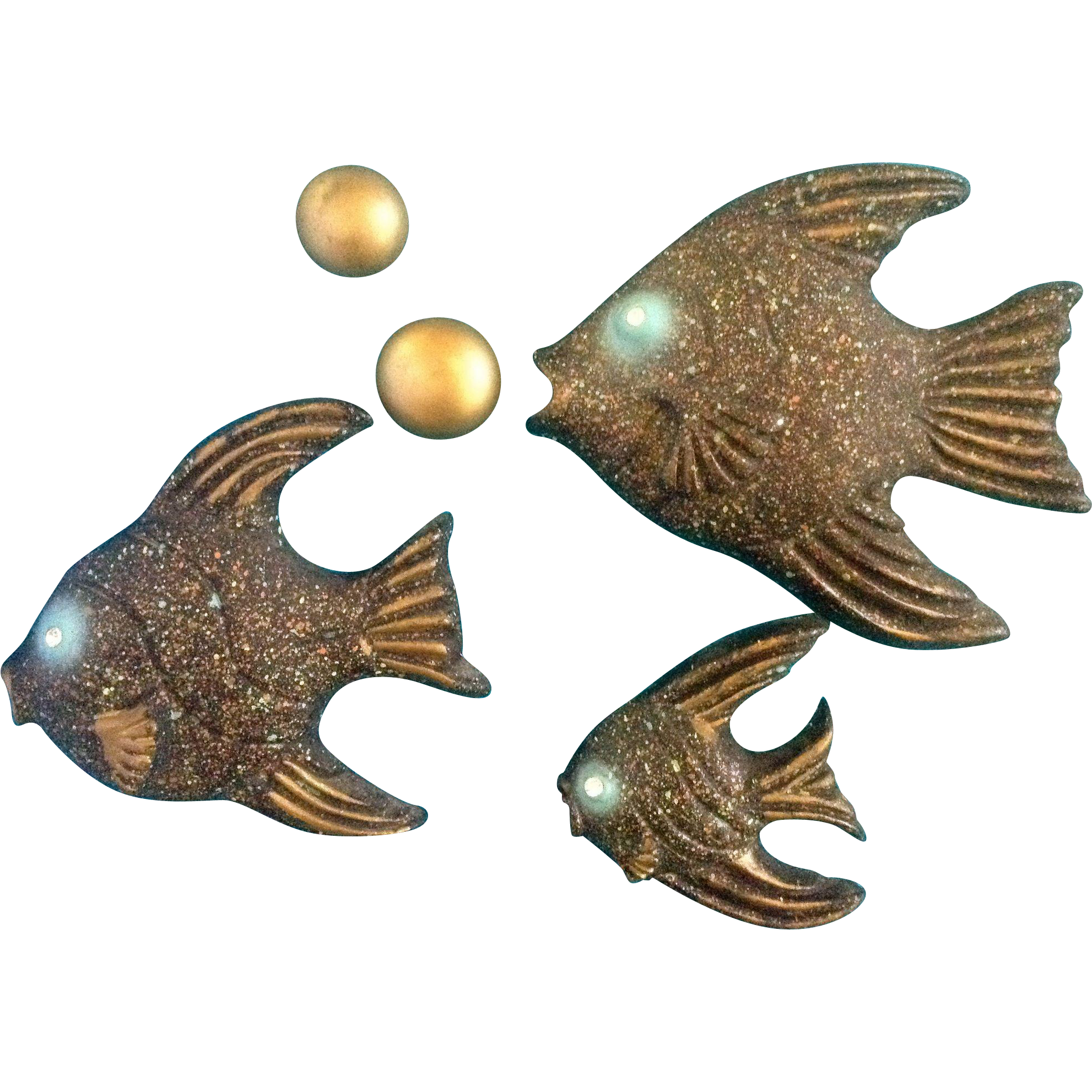 Fish chalkware plaques wall decor vintage mid century for Fish wall decor