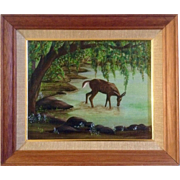 Tehs, Deer Painting, Acrylic Painting on Canvas Board, Signed by Artist, Adorable Deer Getting A Drink Under A Tree