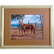 Joan Gurley, Original Acrylic Painting on Canvas, Signed by Artist, Beautiful Brown Horse By Wooden Fence