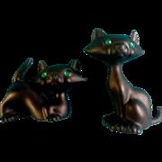 Vintage Retro Japan Black Rhinestone Green Eyes Halloween Cat Salt & Pepper Shakers