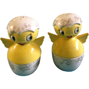 Holt Howard Salt & Pepper Shakers Baby Chicks in Egg Cups Chicken Hatchling Vintage