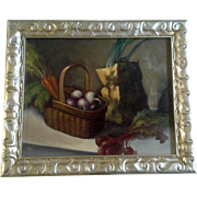 Creyar, Oil Painting on Board, Contemporary French Painting of Fresh Vegetables in a Basket and Brown Paper Bag, Signed by the Artist
