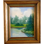 Small Oil Painting on Canvas Monogramed by Artist, Birds Flying Over Trees and Edge of a Pond