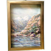 Barbara L Tobiska, Small Oil Painting on Canvas Board, Signed by Listed Colorado Artist, River in the Foothills of the Mountains