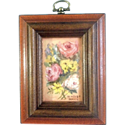 Marion Davis, Postage Stamp Miniature Oil Painting, Rose Flower Bouquet, Signed by Artist