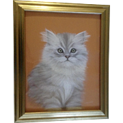 Libby LaSala, Fluffy Persian Kitten Cat With Green Eyes, Original Pastel Drawing, Works on Paper, Signed by Artist