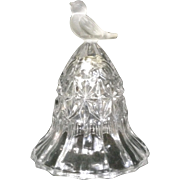 Hofbauer Crystal Bird Byrd Frosted Bell 3-3/4 inches Tall Discontinued Vintage Germany, The Byrdes Collection