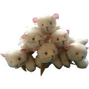 Annette Funicello #88271 Squeak Mouse, #7 Mice with Cheese Mohair Collar Set of 6 Adorable Discontinued Stuffed Animal Plush