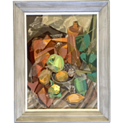 R. Arnold, Cubism Painting, Fruit and Wine, Mixed Media Cubist Oil and Tissue Paper on Board Signed by Artist