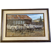 Charles Frizzell, Watercolor Photo Real Painting, Buck Board Wagons at the Old Homestead, Landscape, Large Watercolor Works on Paper, Signed by Listed Artist
