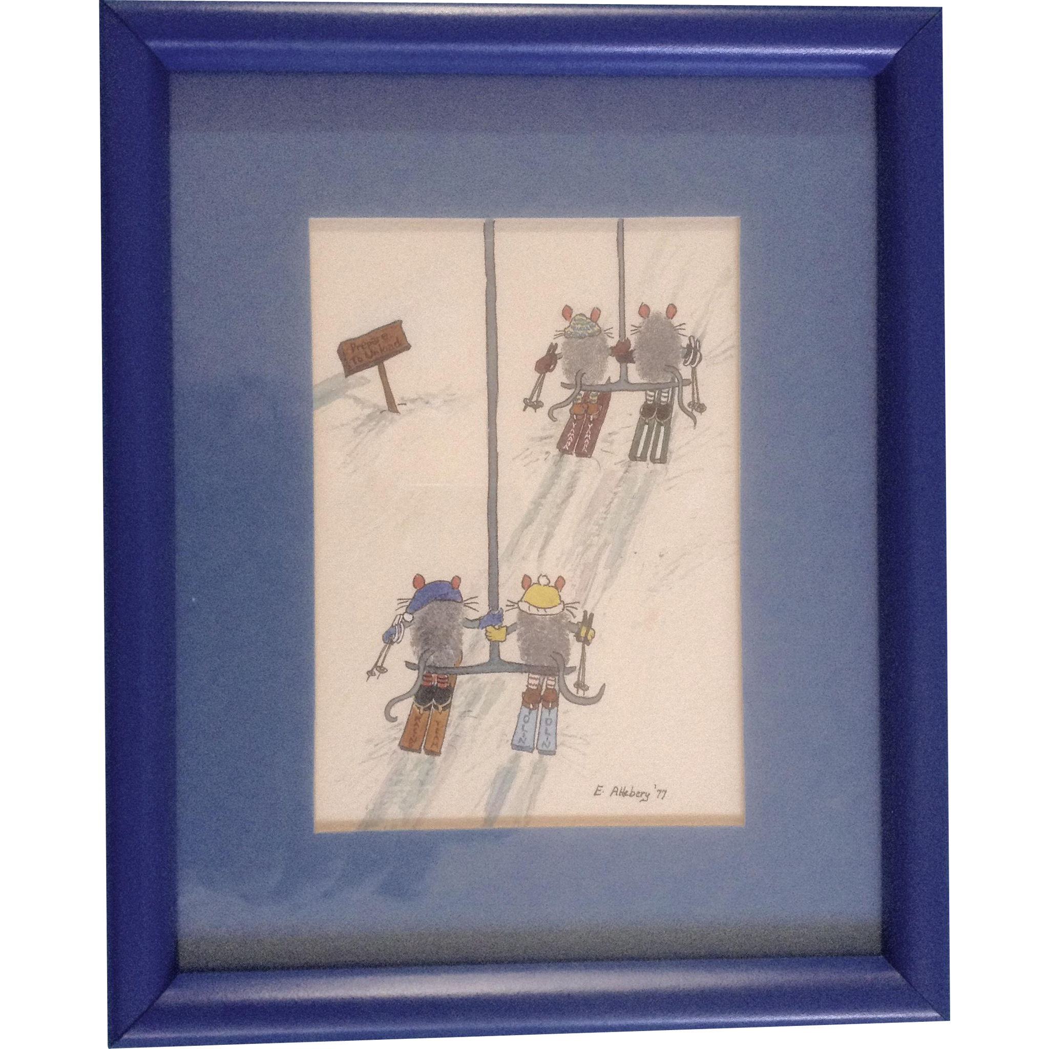 Mice skiers on chair lift mixed media works on paper signed by artist