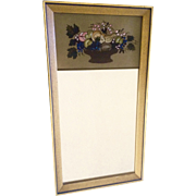 Eglomise Mirror, Reverse Glass Painting of Fall Harvest Fruit Basket, Early 20th Century American Folk Art