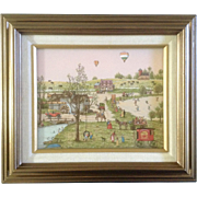 C. Carson, Serigraph, Folk Art, Balloon Little Busy Town at Old Town Mill, Fun Art Picture