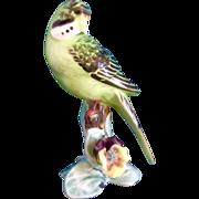 Lefton Parakeet Budgie Bird Green Vivid Colors Vintage Animal Ceramic Japan Figurine