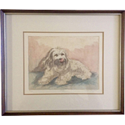"""Millie Kornfeld, Etching, Watercolor Painting, """"Lady,"""" Lhasa Apso Dog, Works on Paper Signed by Artist"""
