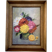 Vintage Oil Painting On Canvas Signed by Artist RPT Orange Fruit and Flower Bouquet 1970's Picture