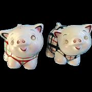 442 Anthropomorphic PY Pig Salt & Pepper Shakers Rhinestone Diamond Eyes