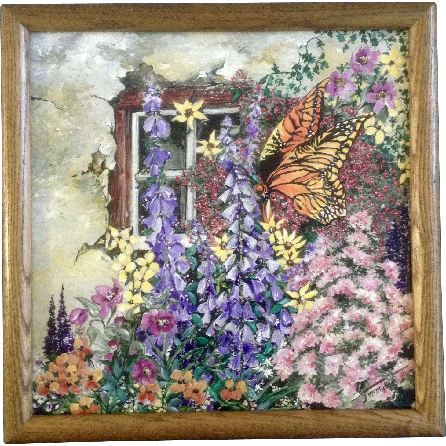 S. McMiller, Acrylic Painting, Monarch Butterfly in ...