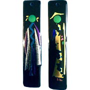 Marcia Newren Fused Dichroic Art Glass Abstract Asian Couple Wall Pictures