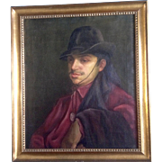 Hover, Portrait of a Man, Oil Painting on Canvas, Signed by Artist