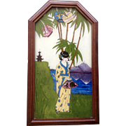 Reverse Glass Foil Tinsel Painting 1930's Art Deco Japanese Woman Art Picture