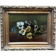 Kathleen Winner, Antique Oil Painting 1892 Still life Pansies Floral Motif