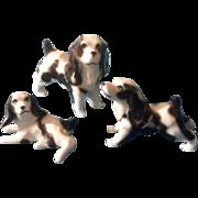 Bone China Miniatures Cocker Spaniel Dog Family Set Vintage Taiwan Animal Figurines