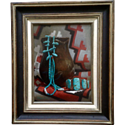 William V. Hatch Native American Turquoise Jewelry and Pottery Oil Painting on Canvas Realism Art Signed by Artist