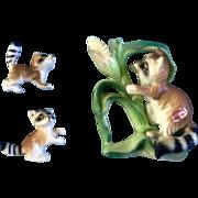 Bone China Miniatures Raccoon Animal with Corn Set Figurines