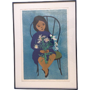 Rosalind Smith, Woodcut Etching, Child With daisies Sitting in a Chair, Limited Edition 245/260, Woodblock Works on Paper Signed by Artist