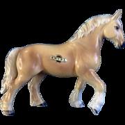 Shire Horse Horseshoe Foil Label Blonde Chestnut Color Porcelain Animal Figurine